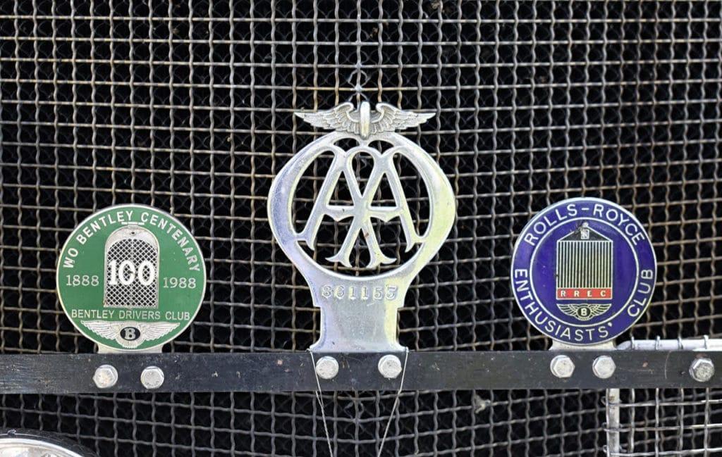 Grille badges on a vintage Bentley