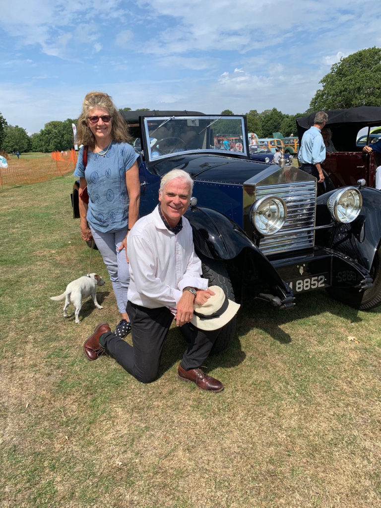 Sir Desmond and Monica Swayne next to Gary Trinder's 20HP. Sir Desmond is MP for New Forest West and a classic car collector